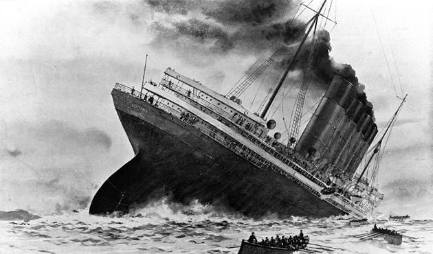 I. Dünya Savaşı sırasında batırılan İngiliz yolcu gemisi Lusitania