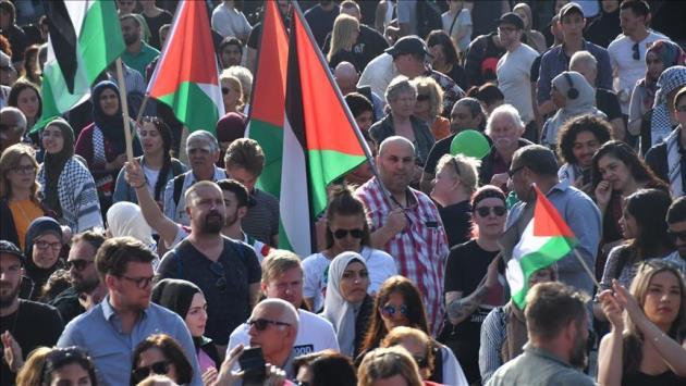 Stockholm'de İsrail işgali protesto edildi