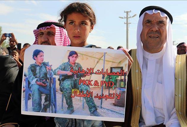 Haseke'de YPG/PKK karşıtı gösteri