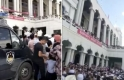 Çin'de Hui Müslümanları Ningşia Hui Özerk Bölgesi'nin Veycou kasabasında yıkılmak istenen camilerinin kapısında cuma namazı kıldı