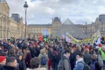 Fransa'da Ulusal Meclis'te görüşülen emeklilik reformu protestosu