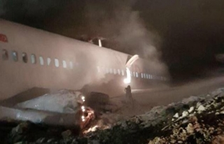 Trabzon Havalimanı'na iniş yapan Ankara yolcu uçağı...
