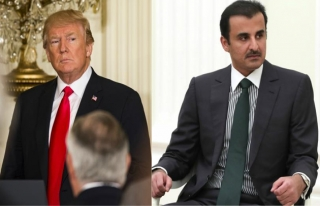 Katar Emiri Şeyh Temim, Beyaz Saray'da Trump ile...