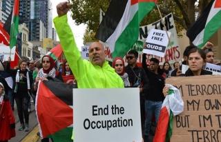 İsrail'in Gazze katliamı Avustralya'da protesto...