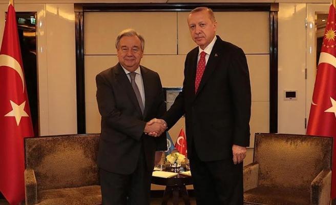 Erdoğan'ın Fransa'daki ilk görüşmesi Guterres'le