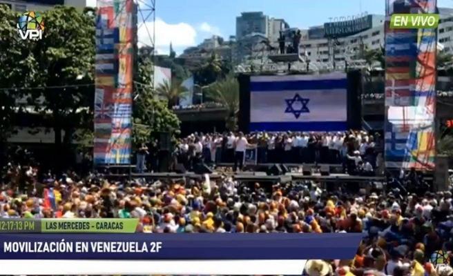 Guaido'nun gösterilerinde dev İsrail bayrağı dikkat çekti