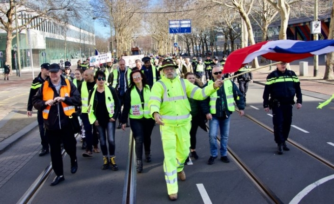 Hollanda'da sarı yeleklilerden eylem