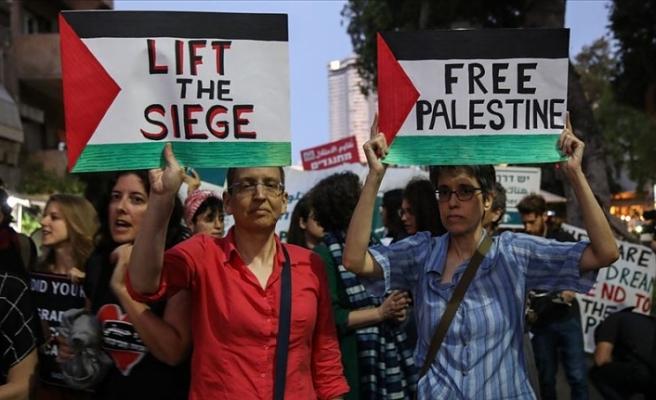İsrail'in başkentinde Gazze'ye destek gösterisi