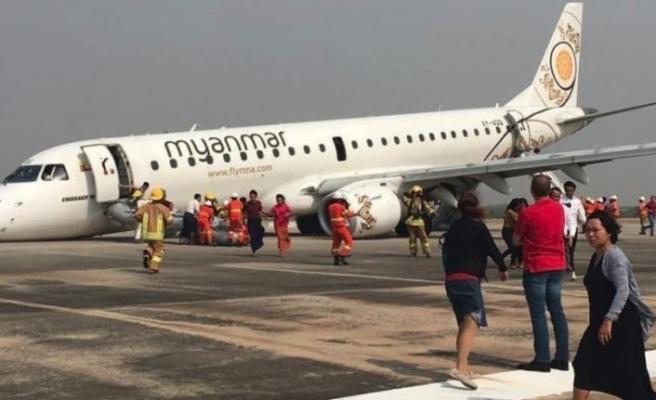 Yolcu uçağı arka tekerlekleri üzerinde acil iniş yaptı