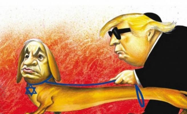 Netanyahu'yu Trump'ın rehber köpeği gibi resmeden karikatür olay oldu
