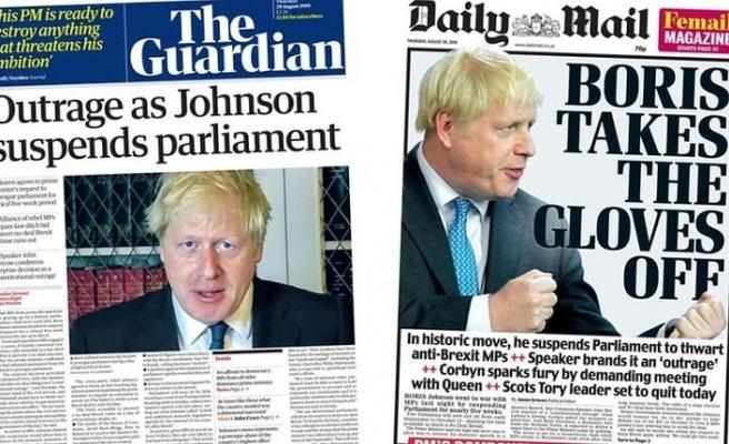 İngiltere Palementosu'nun askıya alması gazete manşetlerinde: 'Demokrasiye hakaret'