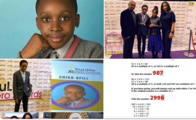 Matematikte 7 ile bölünebilirlik formülünü bulan Nijeryalı çocuğa İngiltere'den ödül