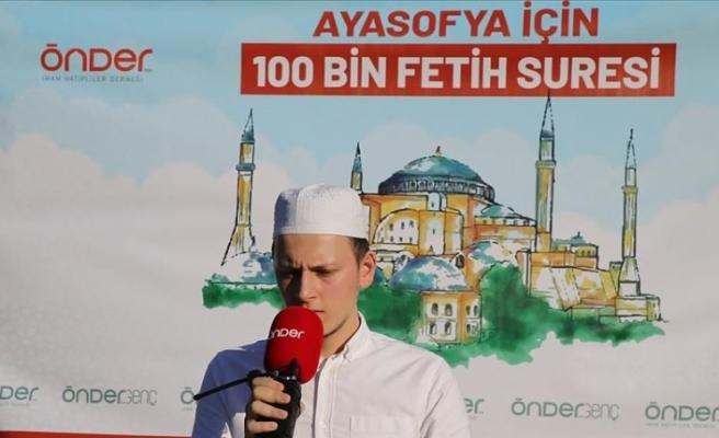 Ayasofya Camisi için Fetih Suresi okundu
