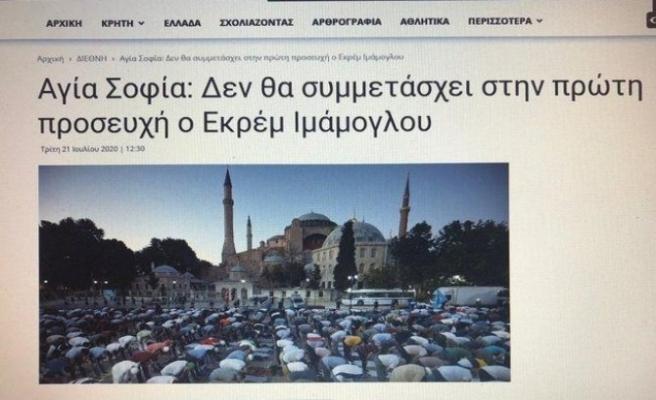 Ayasofya'da namaz kılmayacağını açıklayan Belediye Başkanı Yunanlıları sevindirdi