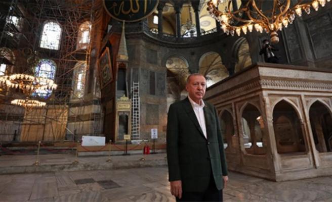 Cumhurbaşkanı Erdoğan Ayasofya Camii'nde inceleme yaptı