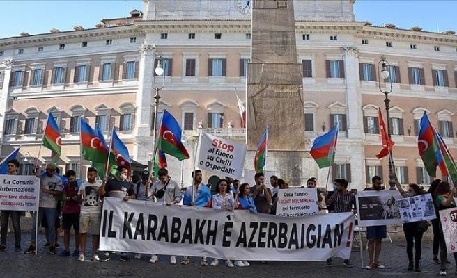 Ermenistan'ın saldırıları İtalya'da protesto edildi