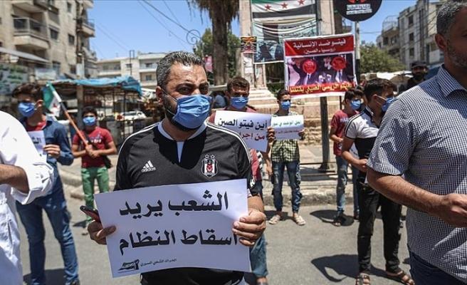 İdlibliler Rusya'nın sınır ötesi BM yardımlarını engellemesini protesto etti