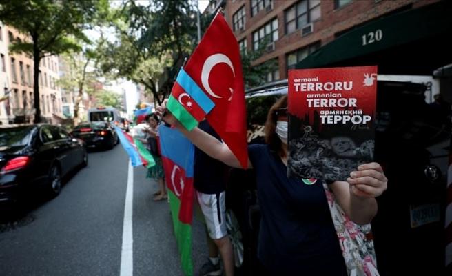 Türk Amerikan toplumu, New York'ta Ermenistan'ın Azerbaycan'a yönelik saldırılarını protesto etti