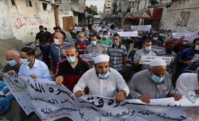 Gazze'de Macron protesto edildi