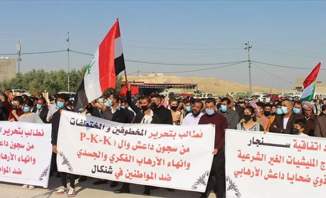 Irak'taki Ezidiler, terör örgütü PKK'nın Sincar'daki varlığına karşı gösteri düzenledi