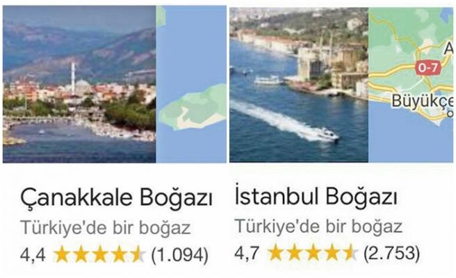 Google, İstanbul ve Çanakkale boğazlarının adını yeniden düzeltti