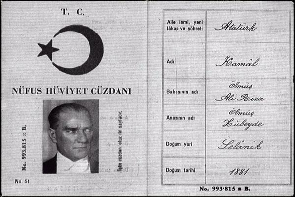 'ATATÜRK' soyadını kendisi mi vermişti? Atatürk'ün nüfus cüzdanı..
