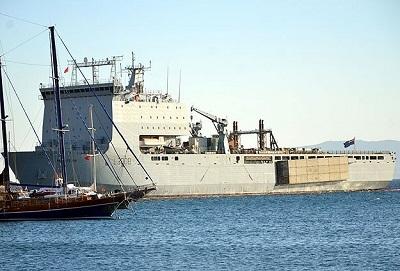 İngiliz savaş gemisi 'Mounts Bay' Bodrum'da