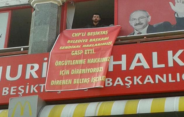 İşçiler, CHP Beşiktaş binasını işgal etti