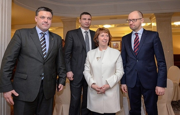 Ashton Kiev'de muhalif liderlerle görüştü