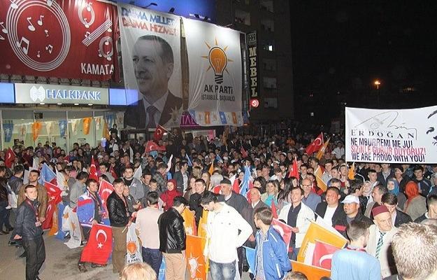 Üsküp'teki seçim kutlamalarına Erdoğan sürprizi