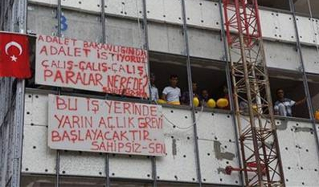 Bakanlık inşaatında taşeron işçi eylemi