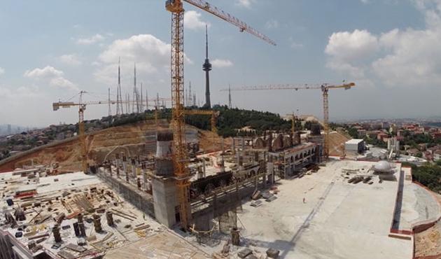 Çamlıca'da minareler yükselmeye başladı-VİDEO