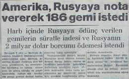 Amerika Rusya'ya nota vererek 186 gemi istedi