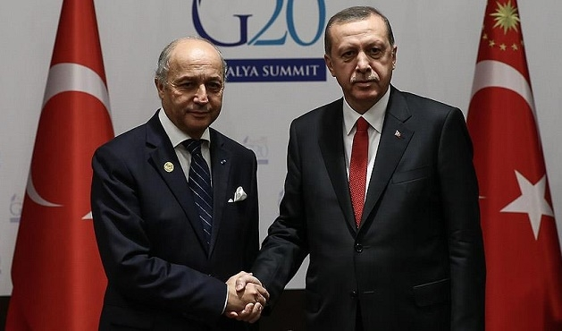 Erdoğan Fabius ile Sapin'i kabul etti