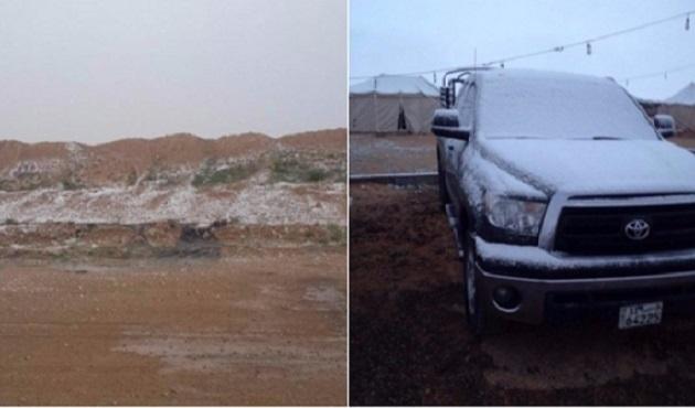 Kuveyt'e ilk kez kar yağdı