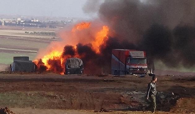 Rusya, Azez'de insani yardım tırlarını bombaladı: 2 ölü