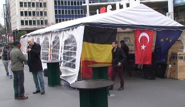 Teröre 'dur' demek için UETD Brüksel'de çadır kurdu