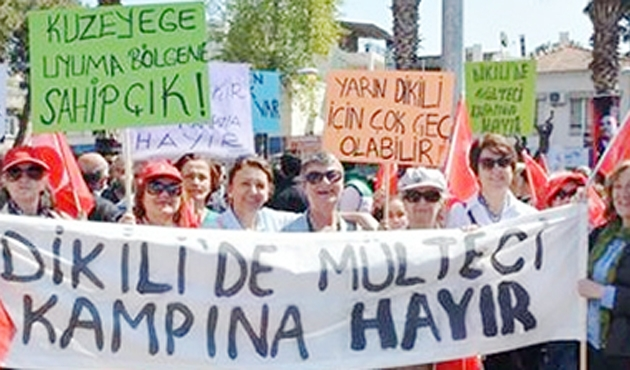 Dikili'de olmayan mülteciye protesto