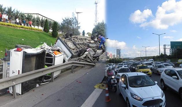 TEM'de zincirleme kaza yoğunluğu