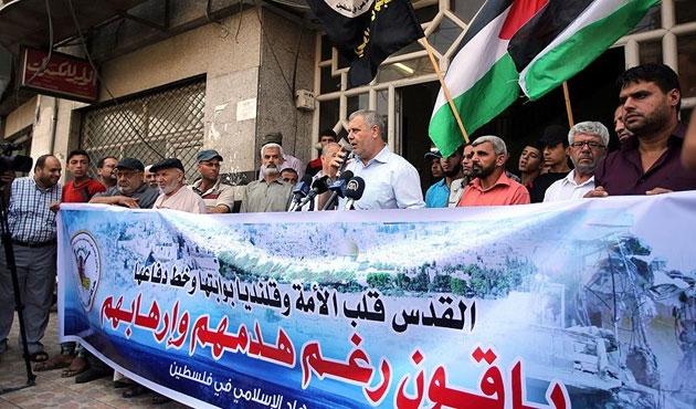 Gazze'de İsrail'e yıkım protestosu