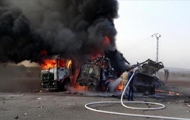 Esad ordusu yardım TIR'larını vurdu