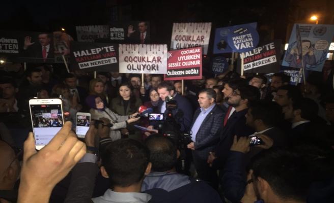 BM temsilciliği önünde 'Suriye' eylemi