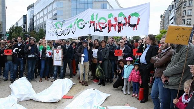 Brüksel'de Halep protestosu