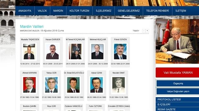 Eski Mardin Valileri'nin fotoğrafları siteden kaldırıldı