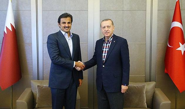 Erdoğan, Katar Emiri Şeyh El Sani ile görüştü