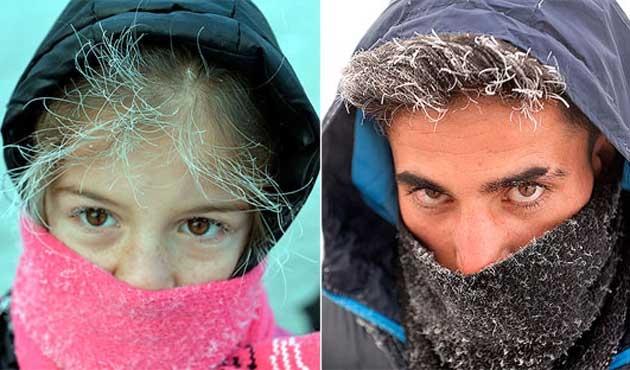 Ardahan'da soğuklar kaş ile kirpikleri bile buz tutturdu