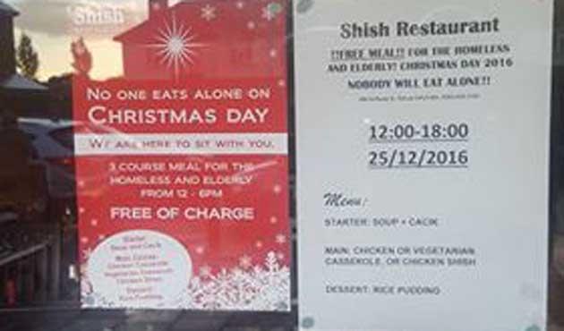 Müslüman Restorandan Londralılara Noel'de bedava yemek