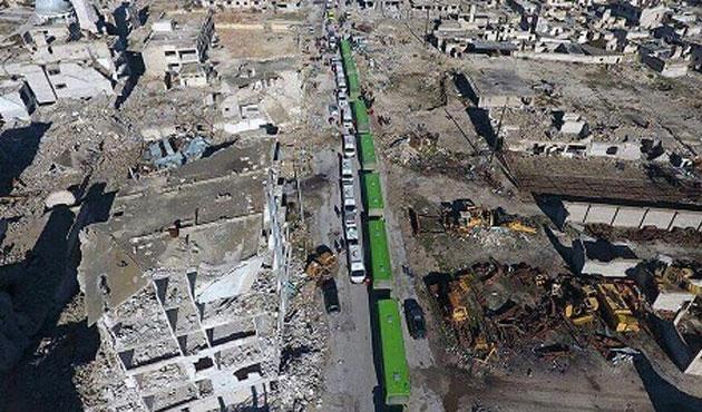Halep'te ilk konvoy rejimin kontrol noktasından geçti