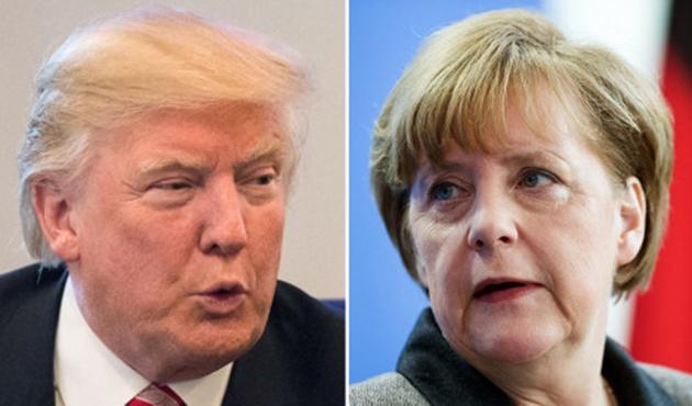 Trump ile Merkel ilk kez yüzyüze