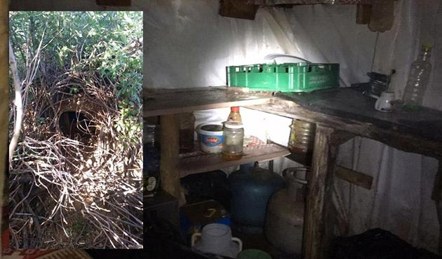 Lice'de PKK'ya ait yaşam malzemeleri bulunan sığınak imha edildi